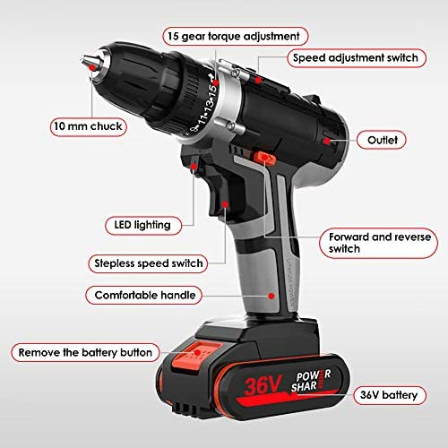 S SMAUTOP Cordless Drill Driver, 36v Electric Screwdriver Led Illuminated Electric Drill with 15-Stop Torque Setting and 1h Fast Charger