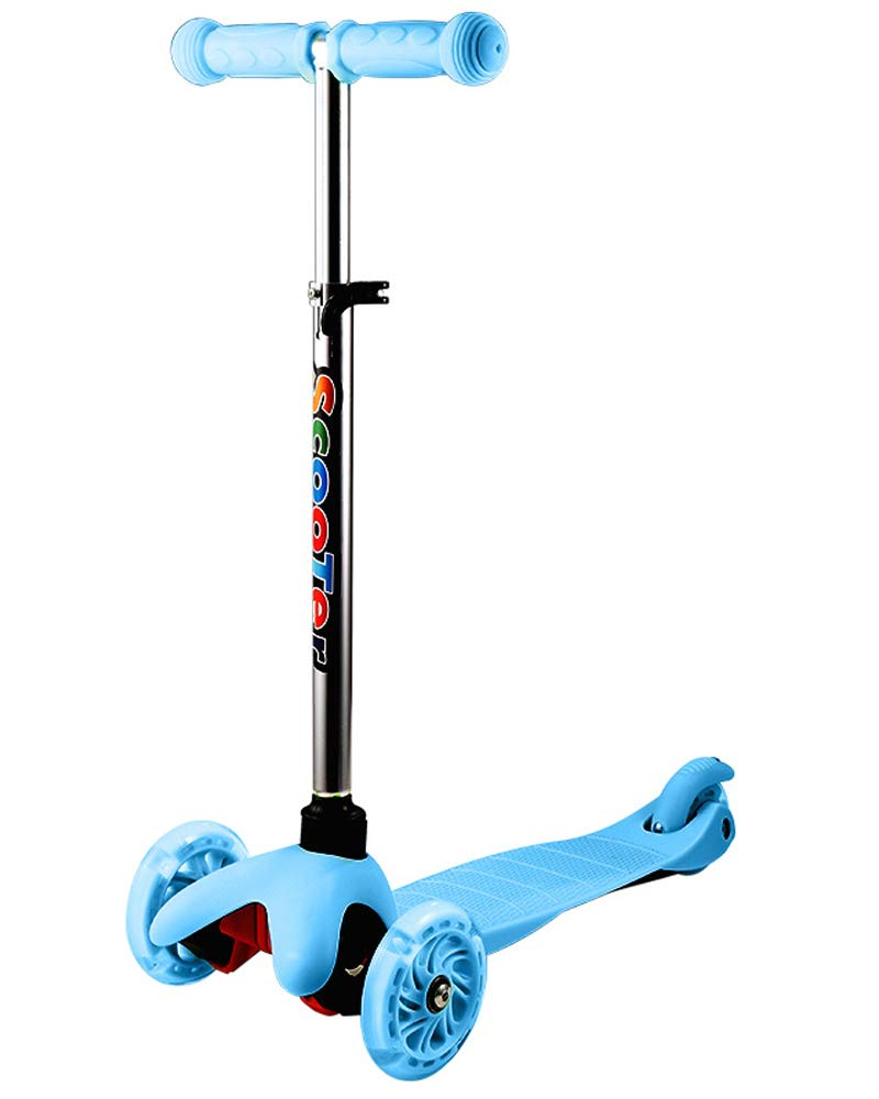 Jinguio 3-Wheeled, 4 Levels Adjustable Height, Step Brake, Kick Scooter with LED Light Up Wheels for Kids Toddlers Training (Blue)