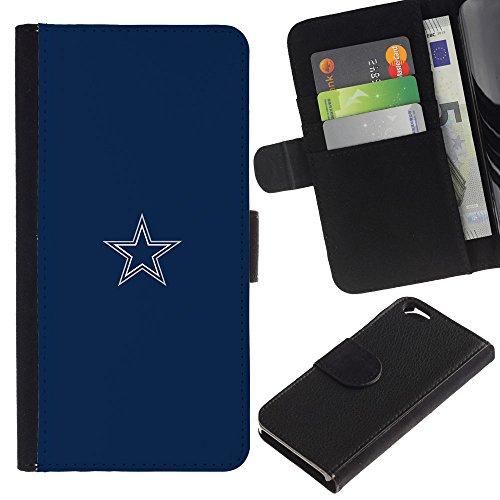 Funny Phone Case // Cuir Portefeuille Housse de protection Étui Leather Wallet Protective Case pour Apple Iphone 6 /Minimaliste Blue Star/