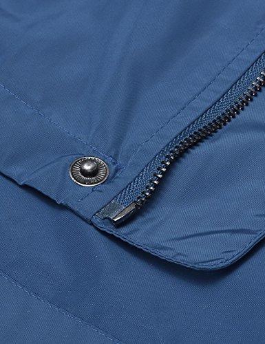 Deporte de Jacket y Azul Lamore Outdoor Chaqueta con Cremallera Hombre Capucha Ligera wUqwzRXE