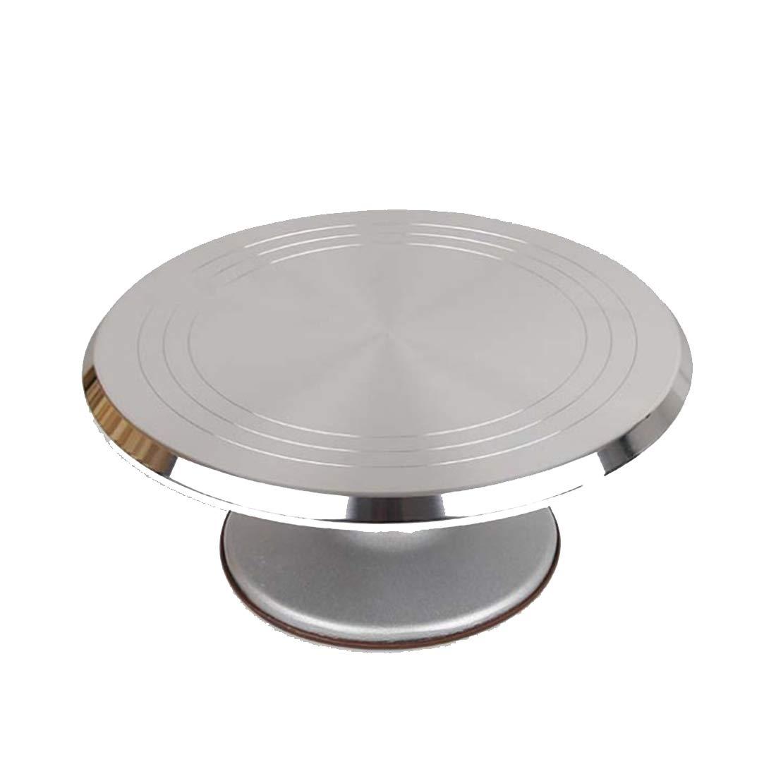 铁锋区志诚机电商店 アルミ合金回転ケーキスタンド12インチラウンドケーキターンテーブルベーキングケーキ (色 : Silver, サイズ : 12 inch) 12 inch Silver B07R3X3LKJ