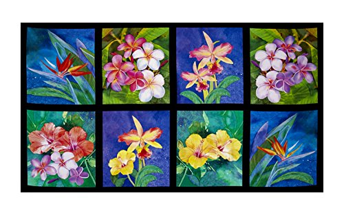 - Robert Kaufman 0540373 Island Sanctuary Digital Tea Cups Panel Tropical Flowers Fabric, Multi