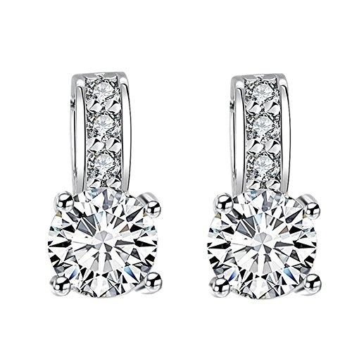Women's Stud Earrings, Round Cut Cubic Zirconia White Earrings Studs For Girls