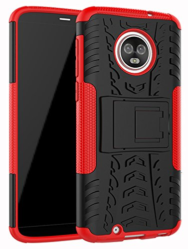 Moto G6 Case,Yiakeng Dual Layer Wallet Accessories Bumper Hard Protective Flip Waterproof Phone Cases Cover with A Kickstand for Motorola Moto G (6th Generation) 5.7 (Red)