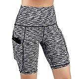 TRENDINAO Womens High Waist Running Shorts, Side Pockets Basic Solid Tummy Control Slim Workout Yoga Legging Shorts Trendiano