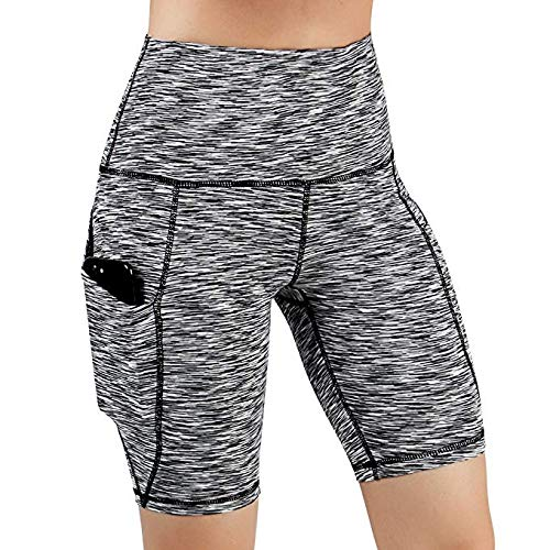 RISTHY Leggins Pantalones Cortos Yoga Correr Deportivos Mujer Mallas Pantalones con Bolsillos Push Up Fitness Pantalones de Deporte Cintura Alta ...