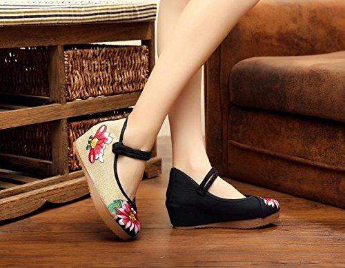 femeninos tendón ocasional Black aumentados estilo WXT del bordados lenguado étnico cómodo manera zapatos Zapatos lino wzXZO
