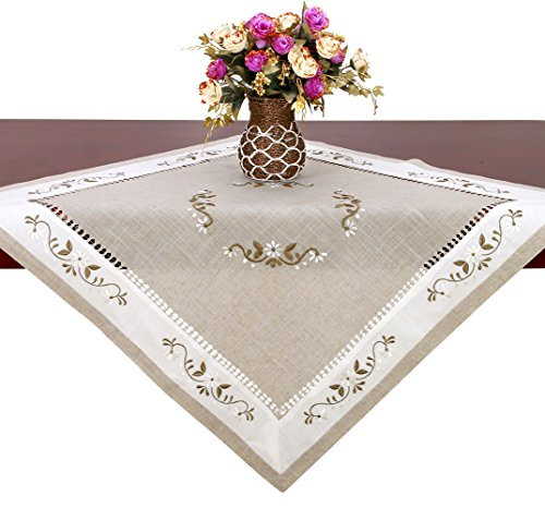 Handmade Hemstitched Classic Embroidered Natural Square Lace Table Cloth (33×33 inch) …