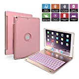 iPad Pro 10.5 Keyboard Case, Penban Wireless Bluetooth 135° Rotatable Aluminum Shell Smart Folio Keyboard Case Cover with 7 Colors Backlit for Apple iPad Pro 10.5 inch (Rose Gold)