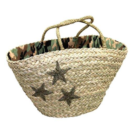 Shopper CAMOUFLAGE - mit grünem Stern - Seegrastasche - Strandtasche - Korbtasche