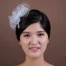 KHSKX-Handmade Flower Bride Headdress Headdress Flower Net Shape Elastic Net Comb Hair
