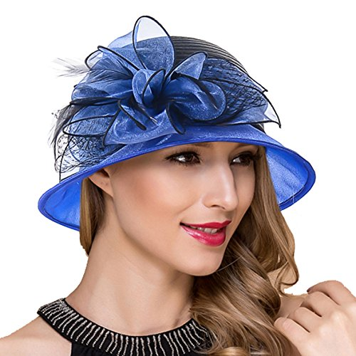Lady Church Derby Dress Cloche Hat Fascinator Floral Tea Party Wedding Bucket Hat S051 -