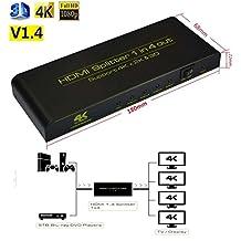 HDMI Splitter 1x4,HDMI 1.4 3D 4K 1080p HDMI Switcher,1 Input 4 Output