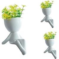 Kit Com 3 Vaso De Cerâmica Robert Planta Artificial