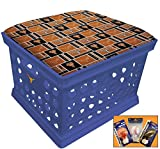 Blue Utility Crate Storage Container Ottoman Bench Stool for Office/Home/School/Preschools with Your Choice of a Football Team Seat Cushion, Decal and a FREE Nightlight! (Longhorns)