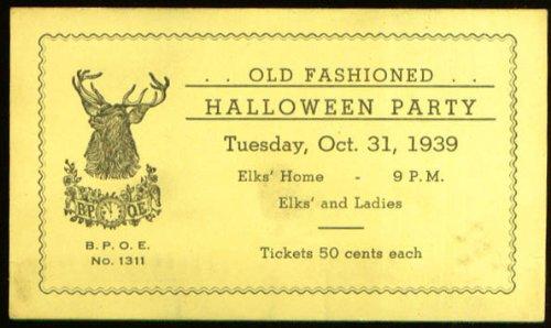 Elks Halloween Party Willimantic CT ticket 1939 -