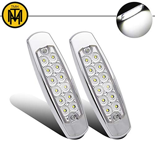 """(Pack of 2) TMH 6.4"""" Inch Extra Thin Fish Shape White 12 LED Heavy Truck Peterbilt Style Side Marker Lights Flatbed Flush Mount Clearance Lamp Off-road Lorry Trailer Mack Kenworth Chrome Bezel 24V DC"""