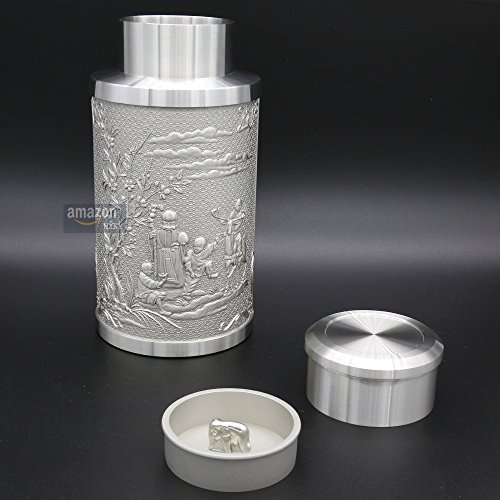Oriental Pewter - Pewter Tea Storage, Caddy - Hand Carved Beautiful Embossed with Chinese Traditional Patterns of God of Longevity & Hundred ''FU'' Pure Tin 97% Lead-Free Pewter Handmade in Thailand by Oriental Pewter (Image #2)