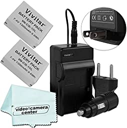 ( 2 PACK ) Vivitar Batteries Ultra High Capacity 1300mAh Li-ion For CANON PowerShot SX50,PowerShot SX40,PowerShot G1 X,PowerShot G15 + AC/DC Rapid Travel Charger CANON CB-2LC Replacement