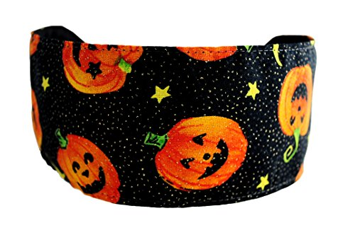 Halloween Headband Glittered Happy Pumpkins, Moons and Stars Over Black Soft