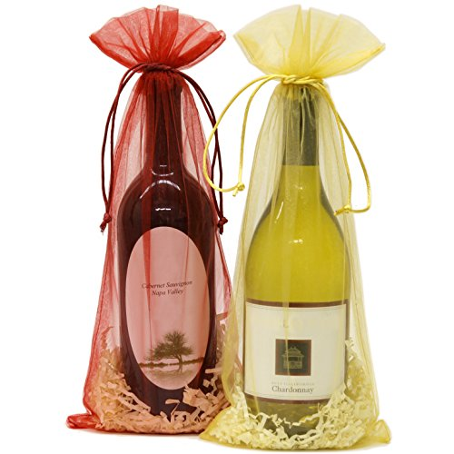20 Designer Wine Organza Fabric Gift Bags Party Gift Bags Large 15