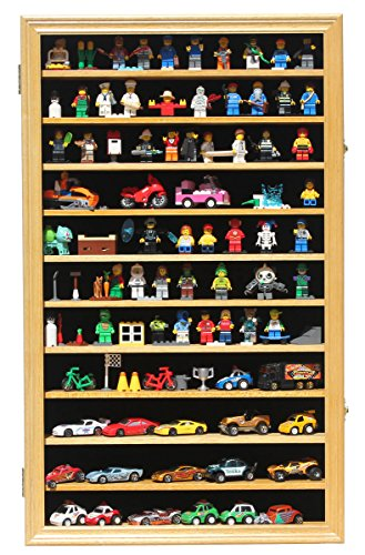 Hat Mlb Display Cases (Minifigures Miniature Figures Display Case Wall Curio Cabinet (Oak Finish))