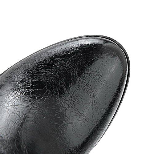 AllhqFashion Mujeres Puntera Redonda Cremallera Caña Baja Tacón ancho Botas con Metal Negro