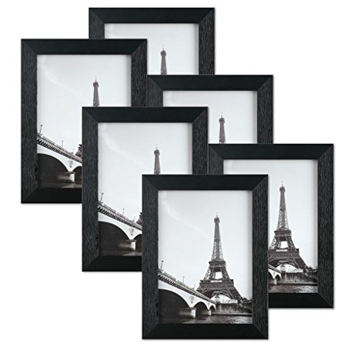 Black Portable Travel Picture Frame 5 x 7 inch Pack of 6 - Display 5x7 Family Pictures without Mat Plexiglass Cover 6-Pack Photo Frame Set for Wall Hanging & Tabletop Standing Paris Background