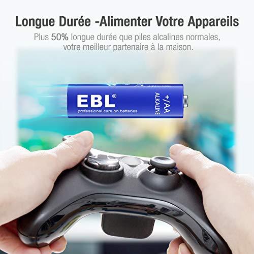 EBL Lot de 28PCS Piles AA, Piles AA/ LR6 Alcalines 1,5V Puissantes Stockage 10 Ans, Large Compatibilité pour Dispositifs Quotidiens
