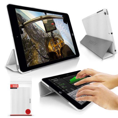 Orzly - SlimRim for Apple iPAD AIR (See Below for Compatible Versions) - Ultra Slim Rim Style Tablet Case in White with Built-in Stand, Magnetic Lid & Integrated Sleep/Wake Sensors (Orzly Slim Rim Case)