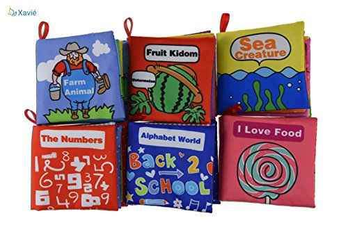 Best Fabric Books for Toddlers Baby - Soft Cloth Activity Books For Babies Early Childhood Education Toys Non-Toxic, Infants and Kids Bed Book for Girls Boys Perfect for Baby Shower Gift - Pack of 6 by Xavié