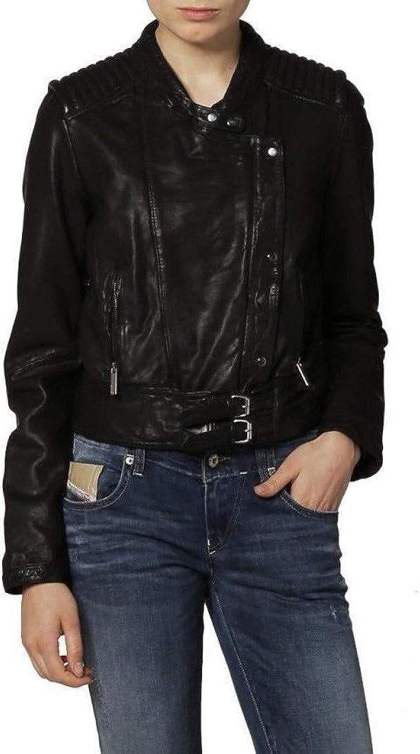 Black TOMJACK Leather Full Sleeves Casual Bomber Biker Jacket for Women Girls