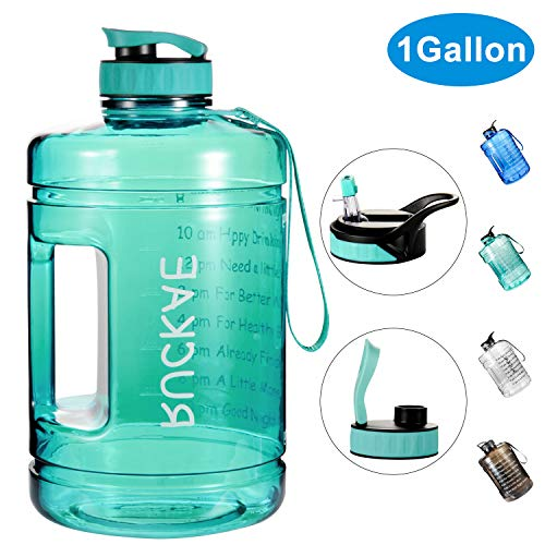 Ruckae Water Bottle, 1 Gallon Water Bottle with Straw and One Replaceable Lids, 128OZ Motivational Water Bottle with Time Marker to Drink Enough Water Daily for Fitness, Outdoor (Light Green)