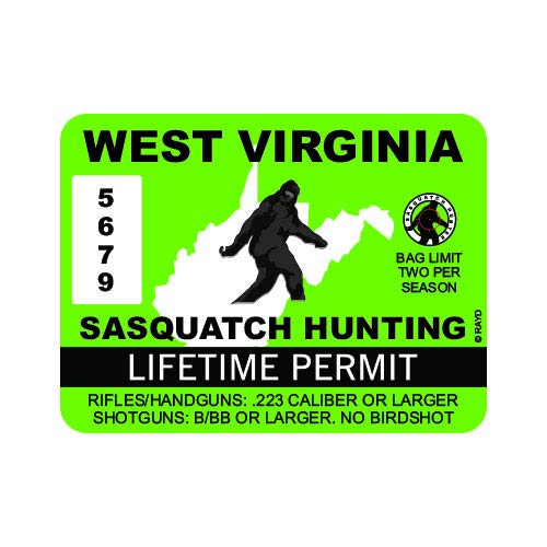 "RDW West Virginia Sasquatch Hunting Permit - Color Sticker - Decal - Die Cut - Size: 4.00"" x 3.00"""