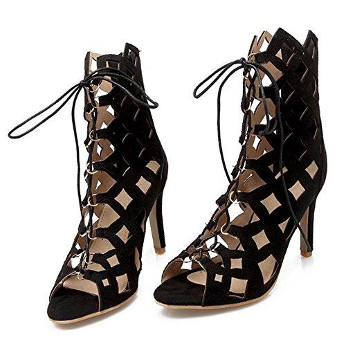 Zapatos Black Mujer Toe Coolcept Bombas Peep OqFRqI0