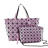 2 Set Women Folding Handbags Woman Geometry Shoulder Bags Top Handle Pink-2set 43x10x33cm