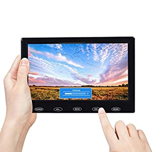 Toguard 7 inch Ultra-Thin High-Res 1024*600 Monitor, AV/VGA/HDMI Input,Portable TFT LCD CCTV Video Display Screen,Touch Button, Built-in Speaker, for Security Surveillance Cam
