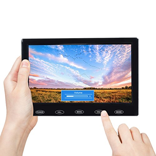 TOGUARD 7 Inch Small Portable Security Monitor HD 1024x600 TFT LCD Display Screen with AV VGA HDMI Input, Touch Keys,Built-in Speakers, Remote Control for Raspberry Pi PC Security - Display Portable