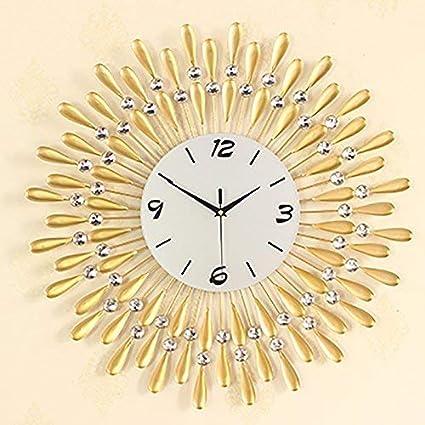 Wall clocks Flashing- Europäische Persönlichkeit Stumm Große Wanduhr  Moderne Wohnzimmer Kreative Mode Einfache Dekorative Wanduhr (Farbe : Gold,  größe ...