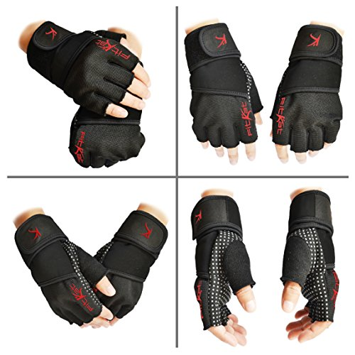 fitKatz Weightlifting Gloves with 18-Inch Wrist Support and Pull-up Tabs, Medium, Black - Gorilla Chalk Bag
