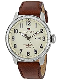 Tommy Hilfiger Men's 'Jasper' Quartz Stainless Steel and Leather Automatic Watch, Color: Black (Model: 1791315)