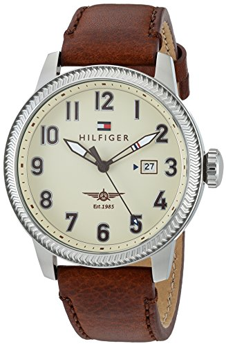 Tommy Hilfiger Men's 'JASPER' Quartz Stainless Steel and Leather Casual Watch, Color:Brown (Model: 1791315)