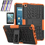 Fire 7 2017 Case, Mignova Hybrid Protection Cover [Anti Slip] [Built-in Kickstand] Skin Case for All-New Fire 7 Tablet (7th Generation 2017 Release) + Screen Protector Film and Stylus Pen (Orange)