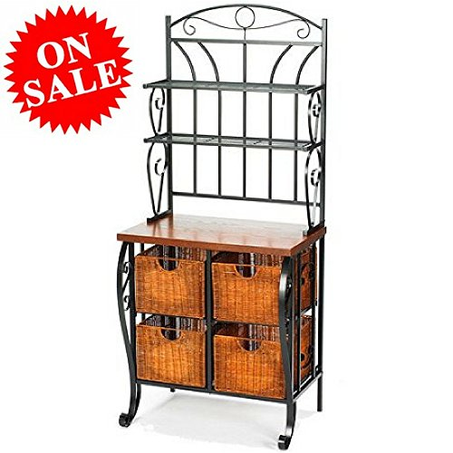 Wrought Iron Bakers Rack with Wire Shelving and Baskets 2-Tier Counertop Rustic Baker's Rack Shelves for Kitchens Decorative Fancy Bakers Rack eBook by Easy&FunDeals (Iron Standing Basket Wrought)