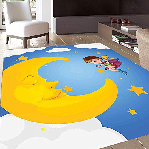Rug,Floor Mat Rug,Explore,Area Rug,Cartoon Girl in a Cape Near The Sleeping Crescent Moon Superhero Theme Night Sky,Home -