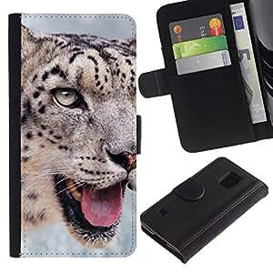 iKiki Tech / Cartera Funda Carcasa - Snow Leopard Nature Animal Big Cat - Samsung Galaxy S5 SM-G900