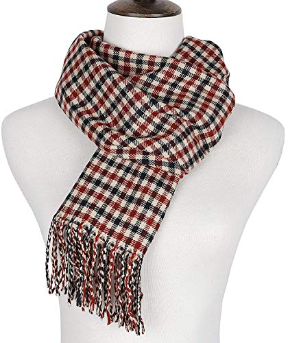 Runtlly Men's Winter Scarf Soft Classic Cashmere Feel Scarves Unisex 8-7 BeigeRed
