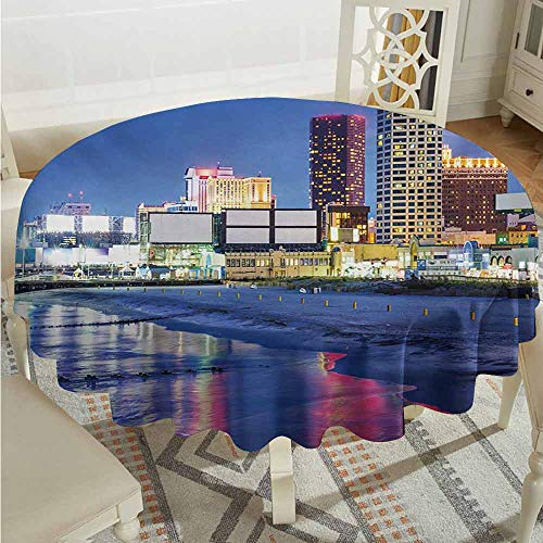 XXANS Round Tablecloth,City,Resort Casinos on Shore at Night Atlantic City New Jersey United States,High-end Durable Creative Home,67 INCH,Violet Blue Pink Yellow -