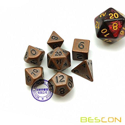 Bescon 10MM Mini Solid Metal Dice Set Antique Copper, Mini Metallic Polyhedral D&D RPG Miniature Dice 7-Sets
