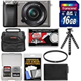 Sony Alpha A6000 Wi-Fi Digital Camera & 16-50mm Lens (Graphite) with 16GB Card + Case + Battery + Flex Tripod + Filter Kit